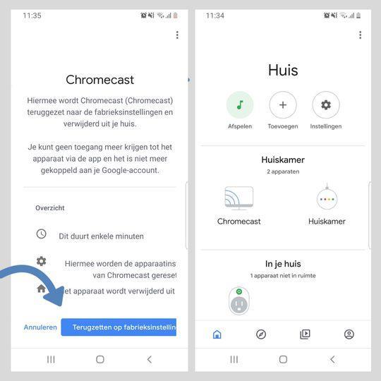 Chromecast resetten